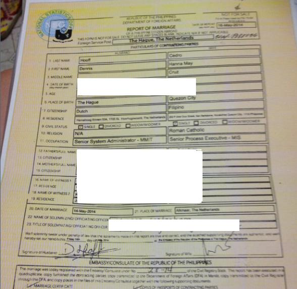 Report of Marriage at the Philippine Embassy in The Hague, NL